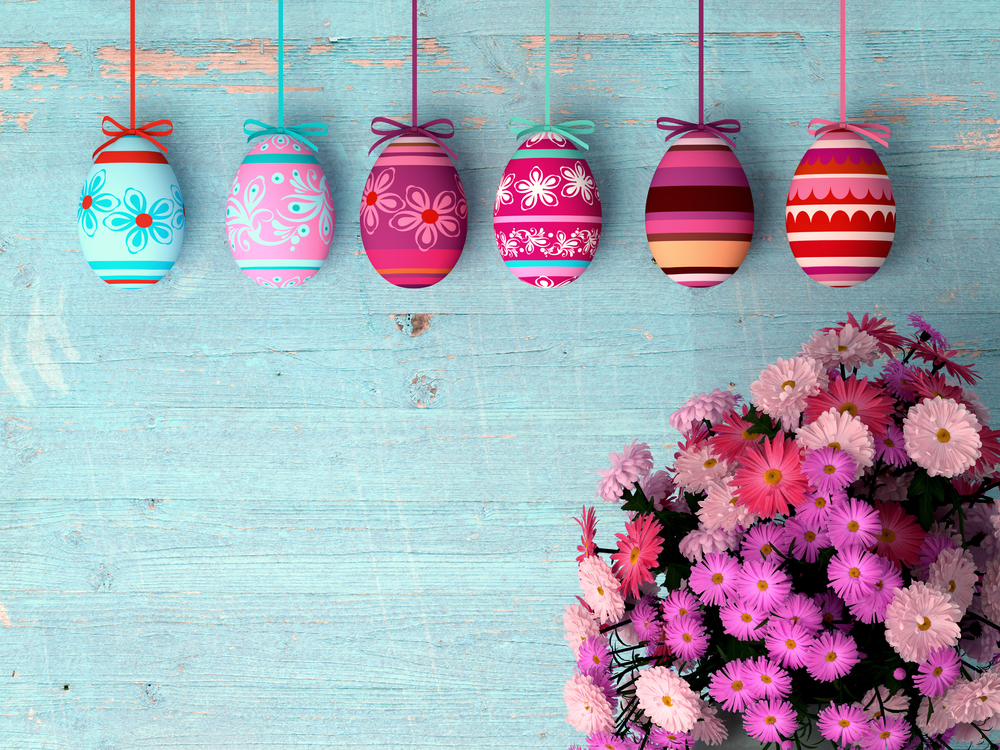 Hand-painted easter eggs with tulips - gift from IT TEAM